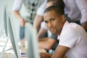 Portrait of young man in business training course