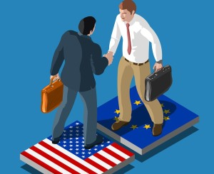 Detailed Illustration of USA Europe Deal People Isometric